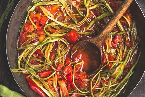 Green French beans spaghetti