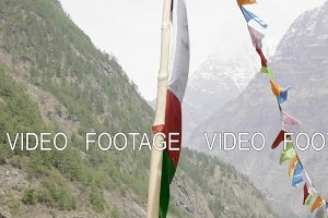 Colored flags in the mountains of