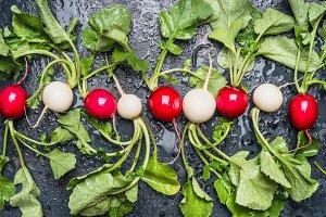 Fresh organic radishes flat lay