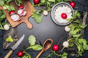 Radishes salad with fresh cheese