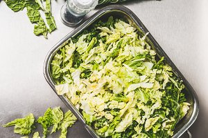 Chopped Savoy cabbage in metal bowl