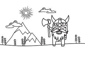 hand drawn -viking in the wilderness