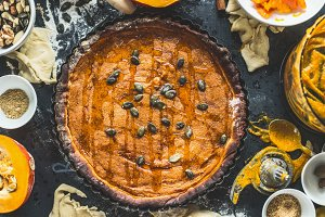 Traditional pumpkin pie with seeds