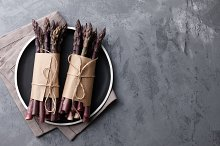 Fresh asparagus in black plate by  in Food & Drink