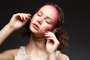 beautiful girl with pink makeup
