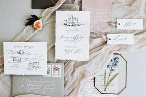 Wedding invitation and calligraphy
