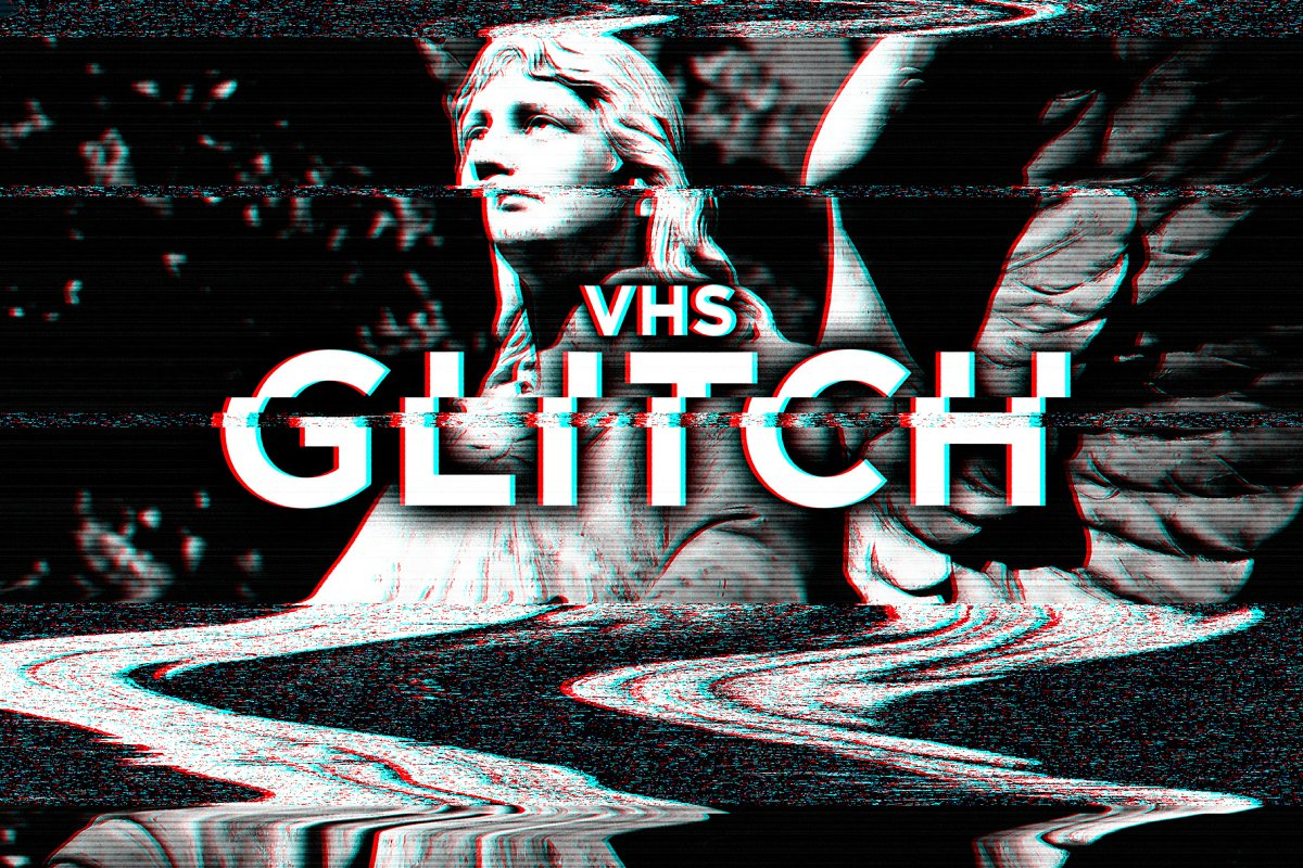 VHS Glitch Effects for Photoshop ~ Photoshop Add-Ons