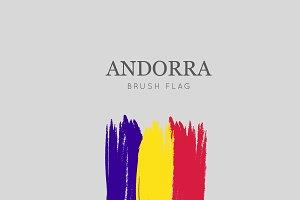 Andorra Flag Brush Stroke - Vector