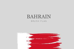 Bahrain Flag Brush Stroke
