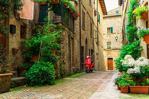 Typical Italian street with flowers