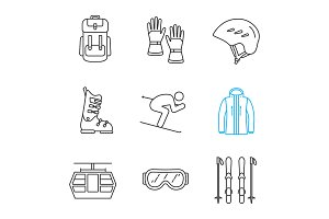Winter activities linear icons set