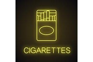 Open cigarette pack neon light icon