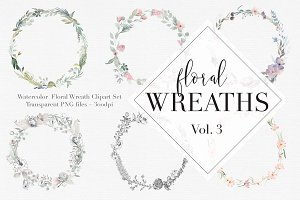 Watercolor Floral Wreaths Vol.3