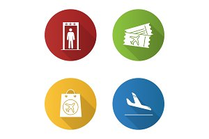 Airport service icons set