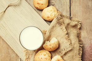 Milk and homemade buns, rustic style