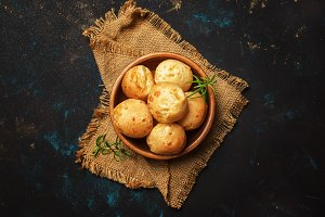 Tasty buns with rosemary, rustic sty