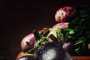 Fresh aubergines, rustic style, vint