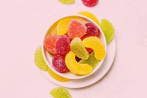 Multicolored marmalade in sugar, lig