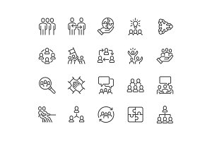 Line Team Work Icons