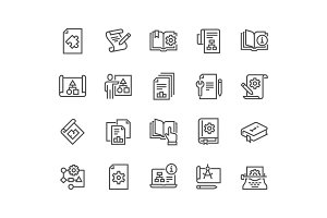 Line Technical Documentation Icons