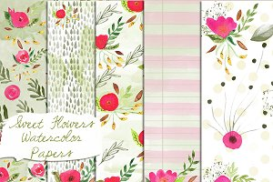 Watercolor Flowers Paper Set