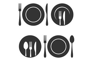 Plate with fork and knife icons set.
