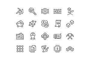 Line Blockchain Icons