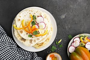 Traditional homemade flat breads for