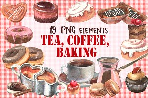 Bakery products watercolor elements