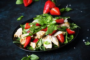 Grilled chicken salad, fresh strawbe