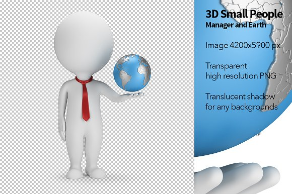 3D Small People - Manager and Earth in Illustrations