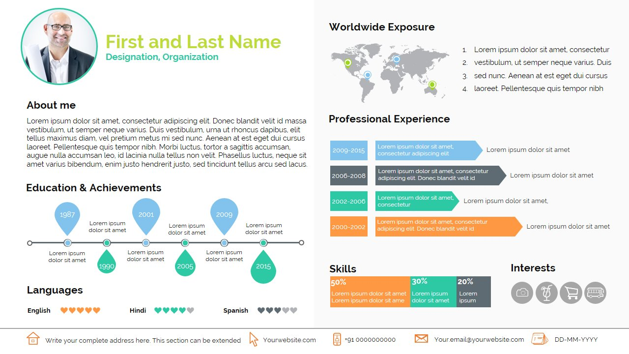 smart resume presentation templates creative market - Powerpoint Resume Template