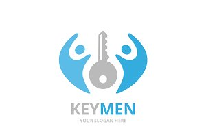 Vector key and people logo