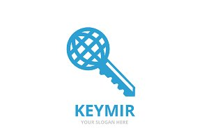 Vector key and planet logo