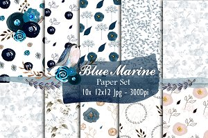 Watercolor Paper Set - Blue Marine