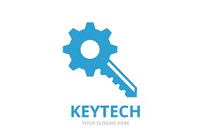 Vector key and gear logo combination