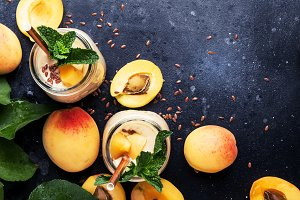 Healthy apricot smoothies in glass b