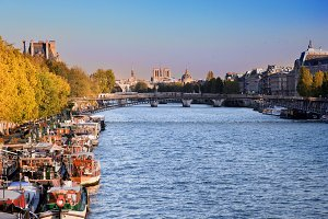 Boats on the Seine River, Paris,