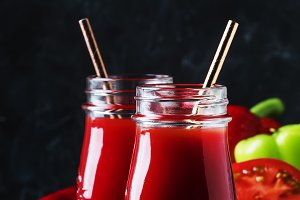 Spicy tomato juice with chili, bell