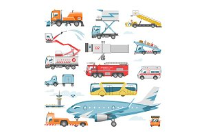 Airport vehicle vector aviation