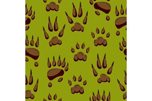 Wild animal paw hand steps vector