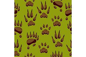 Wild animal paw hand steps vector