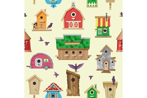 Birdhouse vector cartoon birdbox and