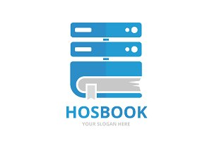 Vector host and book logo