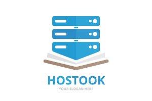 Vector host and open book logo