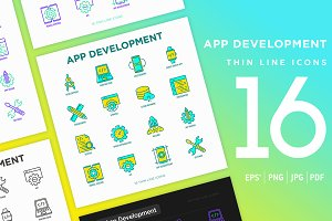 App Development | 16 Thin Line Icons