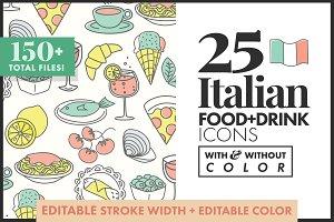 Italian Food Icons 25 color/no color