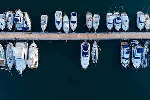Aerial view of a sea port