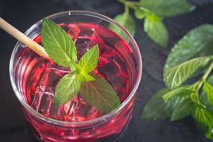 Refreshing grenadine drink with ice