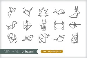 Minimal origami animal icons